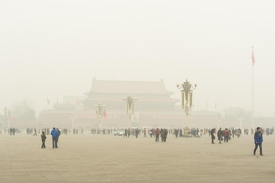 雾霾中的天安门,汉王蓝天,霾表,空气检测,雾霾,空气净化,激光传感器,粉尘,口罩